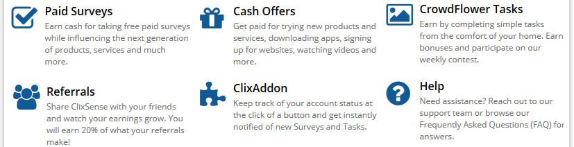 clixsense earning methods