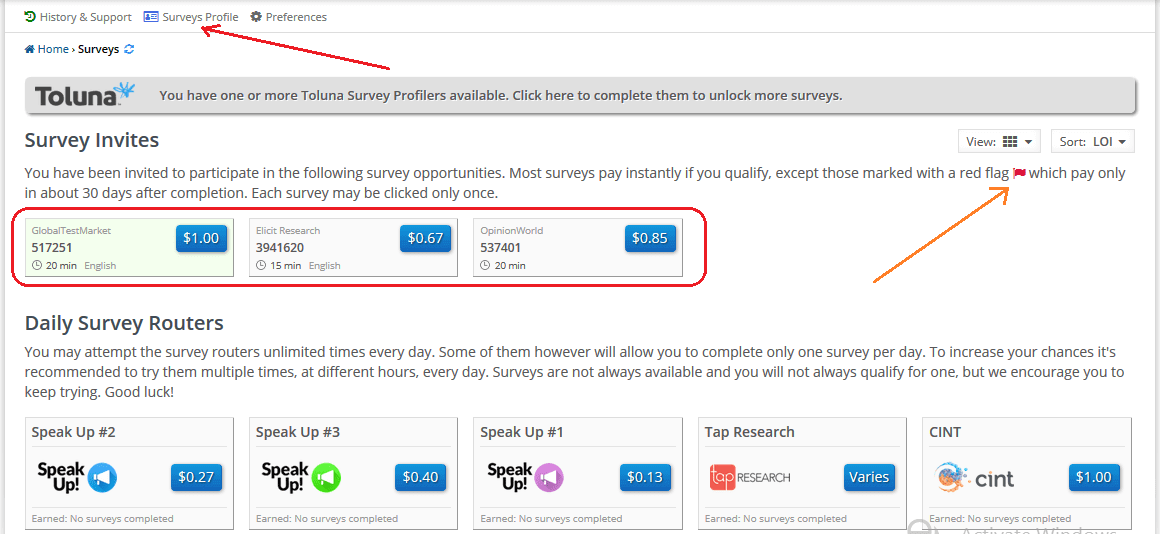 clixsense surveys page