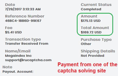Captch payment proof