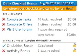 daily checklist bonus