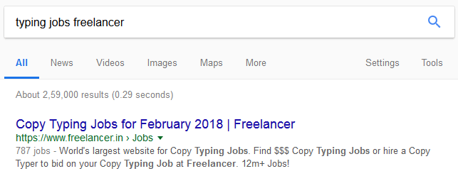 freelancer typing jobs search