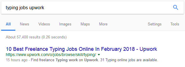 typing jobs search upwork